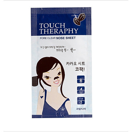 Miếng dán lột mụn mũi (hộp 10 gói) Welcos touch therapy cacao pore clear nose sheet pack,1 chiếc/gói