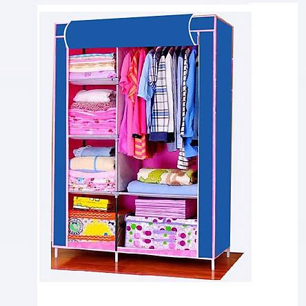 Tủ vải quần áo 2 buồng 6 ngăn, khung sắt sơn tĩnh điện( Hàng Việt Nam sản xuất)
