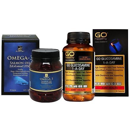 Combo Thực phẩm chức năng Viên dầu cá Hồi Omega3 và Viên giảm đau nhức xương khớp Viên Xương Khớp GO Glucosamine 1-A-Day1500mg lọ 30 viên