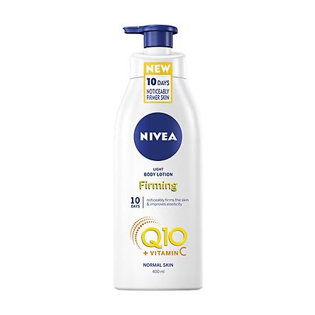 Dưỡng thể trắng da chống lão hoá Nivea Light Body Lotion Firming Q10 + Vitamin C - Da thường - 400ml (Bill Anh)