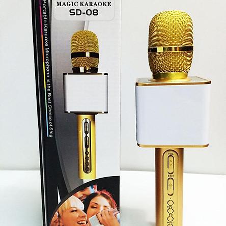 Micro hát karaoke SD 08 mic hát karaoke kiêm loa bluetooth (Giao màu ngẫu nhiên)