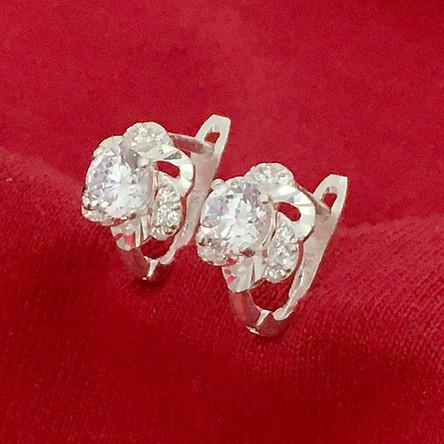 Bông tai nữ Bạc Quang Thản khóa bất đeo sát tai bản cong đính đá cobic cao cấp chất liệu bạc thật không xi mạ – QTBT101