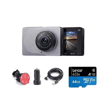 Combo Camera hành trình Xiaomi YI Car Smart Dash 1296p 2K - Phiên bản Quốc Tế , Kèm thẻ 64GB A1 4K Lexar  - Hàng chính hãng