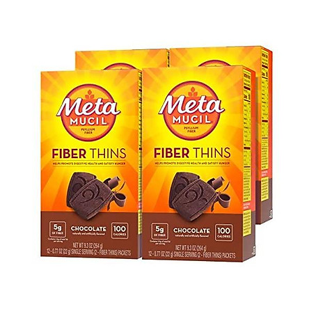Metamucil Fiber Thins, Chocolate Flavored Dietary Fiber Supplement Snack with Psyllium Husk, 12 servings (Pack of 4)