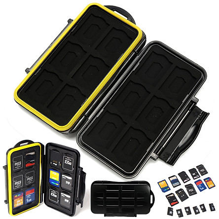 Waterproof 12 SD+12 TF Cards Box Memory Card Case Holder Protector Hard Pouch