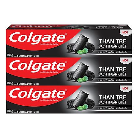 Bộ 3 Kem đánh răng Colgate Than tre sạch thuần khiết từ Hàn Quốc 180g/ tuýp