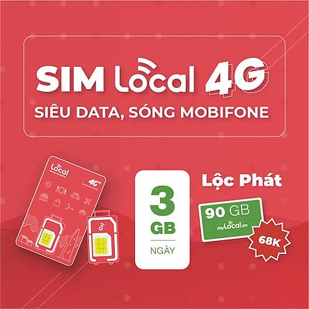 SIM 4G LOCAL Siêu Data - Gói cước Lộc Phát - 90GB/tháng Free tháng đầu - HÀNG CHÍNH HÃNG