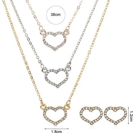 Naizhu Jewelry Set Fashion Heart Set Diamond Earrings Necklace Sz0329 Gold