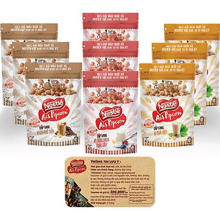 Combo 9 Gói Bắp rang Nestlé Air Popcorn (40g/ 9 Gói) tặng 1 eVoucher FPT