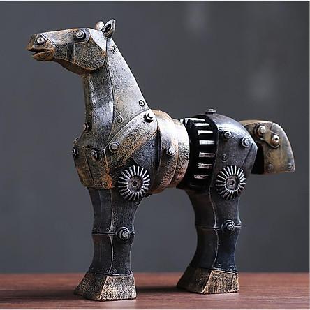 Tượng trang trí I-DIY - ngựa Troy tạo hình theo phong cách cơ khí Mechanical Style thích hợp trang trí bàn làm việc, kệ sách