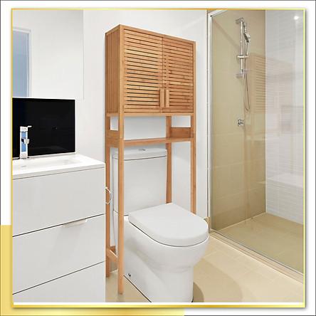 Kệ gỗ để đồ sau Toilet có tủ