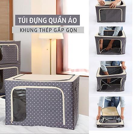 Túi đựng quần áo, chăn màn  bằng khung sắt cúng cáp, ảo quẩn được nhiều đồ đạc hơn (giao hàng theo mẫu ngẫu nhiên)