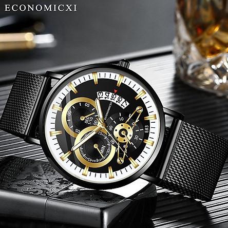 Đồng hồ nam cao cấp, đồng hồ nam đeo tay, đồng hồ nam chính hãng ECONOMICXI mẫu HOT dây thép lưới đen có lịch ngày - Thiết Kế Cá Tính ECN2V