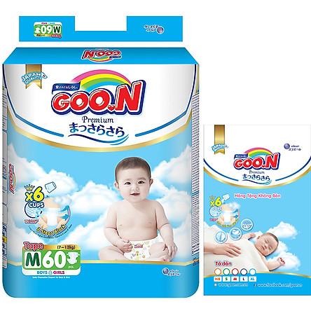 Tã Dán Goo.n Premium Gói Cực Đại M60 (60 Miếng) - Tặng thêm 8 miếng cùng size