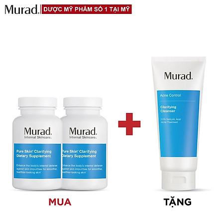 Mua 2 Viên uống giảm mụn Murad Pure Skin Clarifying Dietary Supplement 120 viên Tặng Murad Clarifying Cleanser 200ml