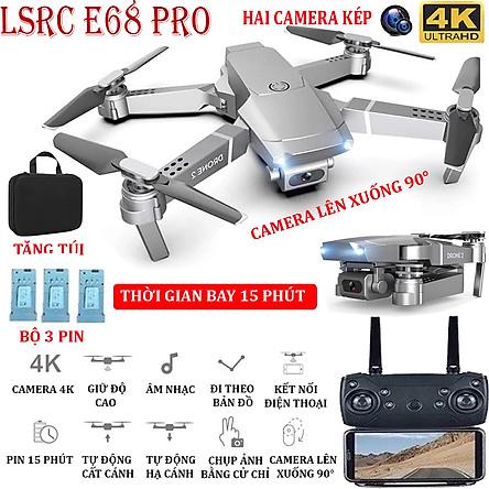 (BỘ 2 PIN + TẶNG TÚI ĐƯNG) Flycam, Flycam điều khiển Giá Rẻ, Flycam mini E68 PRO Camera 4K Hai camera kép , thời gian bay 15 phút, Động cơ mạnh mẽ camera chống rung quang học camera điều chỉnh lên xuống 90°
