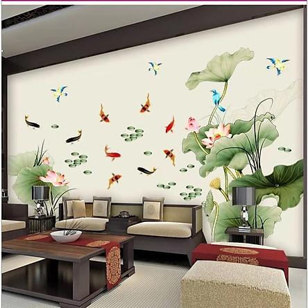 Decal dán tường Đầm sen và cá chép xanh mát (97 x 225 cm)