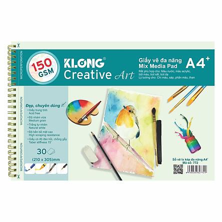 Sổ vẽ lò xo kép đa năng KLONG Creative Art A4 - 150 GSM - 30 tờ; MS: 772