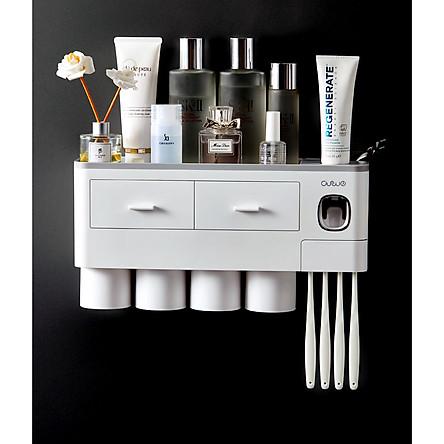 Hộp đựng bàn chải kem đánh răng nhà tắm tặng kèm 4 cốc-Kệ để đồ vệ sinh răng miệng dán tường (màu ngẫu nhiên)
