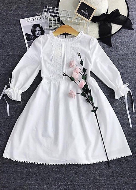 đầm baby doll trắng viền ren ( dưới 60kg)XDS207