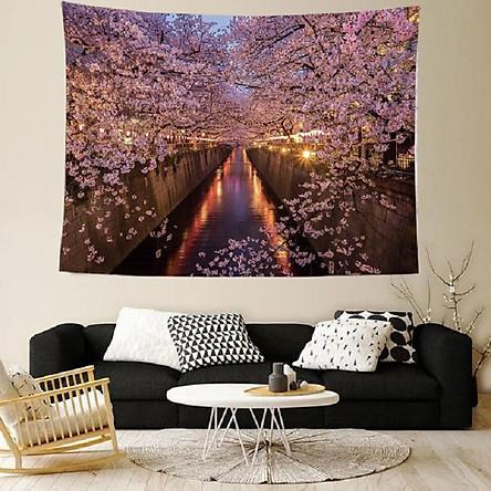 Tranh vải treo tường hoa anh đào nở rộ bên bờ sông trang trí sang trọng tặng kèm móc dán tường