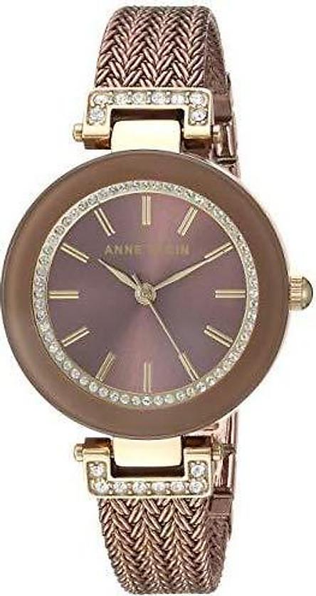 Đồng hồ nữ Anne Klein Women's Swarovski Crystal Accented Mesh Bracelet Watch - Light Blue/Rose Gold