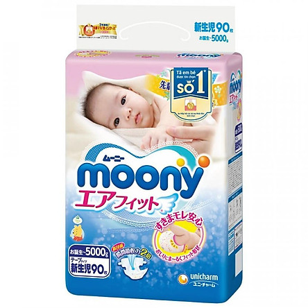 Tã dán sơ sinh Moony Newborn 90 (90 miếng)