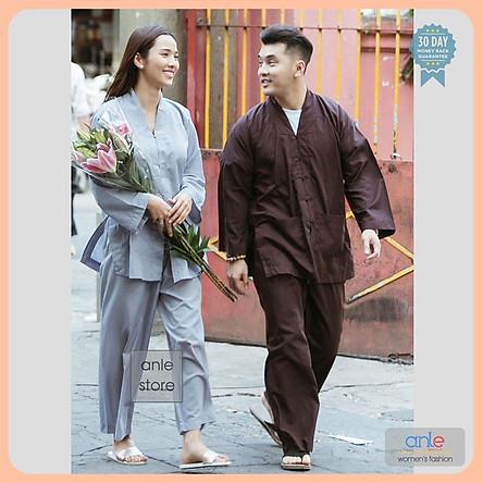 Đồ lam đi chùa Bộ La Hán Nam Nữ vải Kate mịn nhập, quần áo phật tử pháp phục phật giáo giản dị  - Anle Store