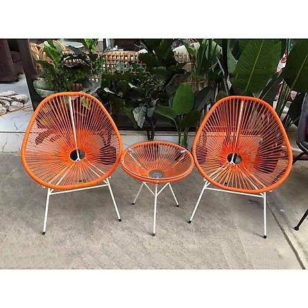 Bộ bàn ghế dây văng ban công, cafe -DV001 - Màu Cam