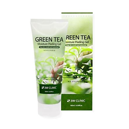 Gel tẩy da chết mặt 3W Clinic Moisture Peeling Gel - Green Tea 180ml
