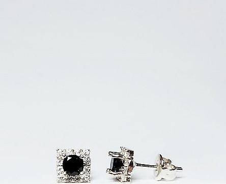 Bông tai bạc thật Keely Valda mặt vuông Black Diamond