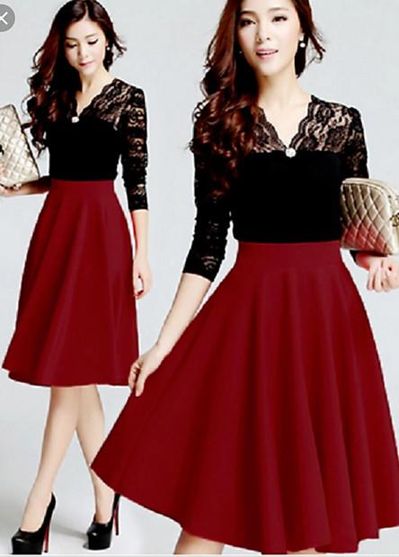 Chân váy xòe qua gối đẹp màu đỏ đô
