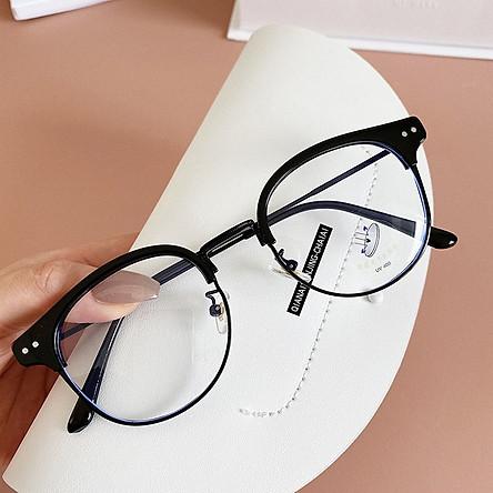Gọng kính cận thời trang mắt tròn bảo vệ mắt chống tia UV, kính không độ Unisex