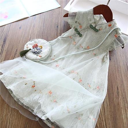 Váy sườn xám cho bé gái phong cách Trung Quốc, Hán phục kiểu công chúa kèm túi thời trang mùa hè cho tre