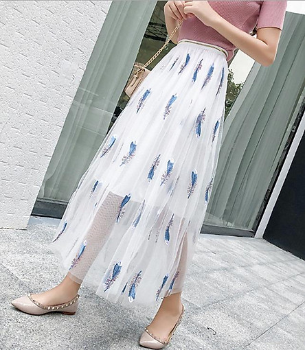 Chân váy ren Tulle - Tutu Chim công nữ tính và sang trọng VAY14 Free size