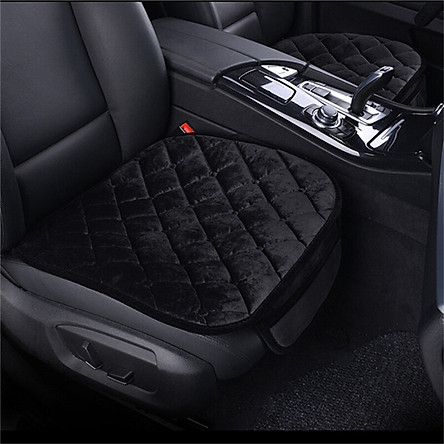 Huashi car seat cushion winter plush cushion padded non-slip base pad without backrest free bundled car with household seat cushion seat cover with mobile phone owner driving a set of black
