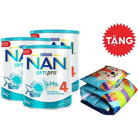 Combo 3 Lon Nan Optipro 4 HMO 900g - Tặng Bộ Gối Nệm Cho Bé