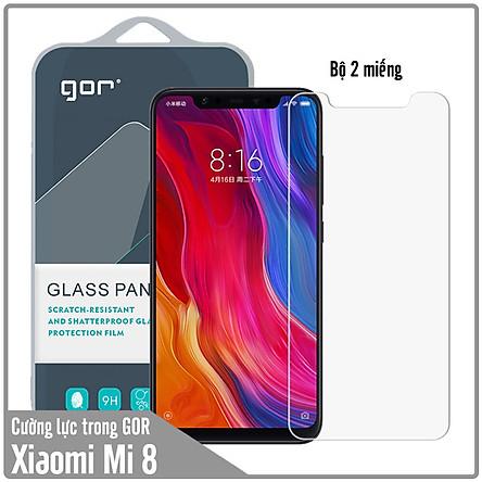 Bộ 2 miếng kính cường lực Gor cho Xiaomi Mi 8 Trong suốt - Hàng Nhập Khẩu