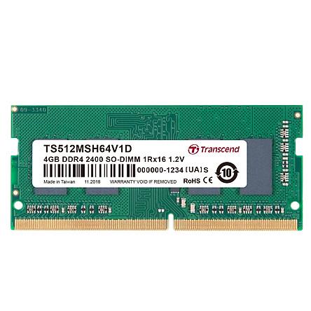 RAM Laptop Transcend 4GB DDR4 2400Mhz SO-DIMM 1Rx16 (512Mx16)x4 - Hàng Chính Hãng