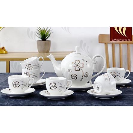 Bộ ấm chén 6 cốc kèm 7 đĩa sứ trắng pha trà họa tiết hoa bạc sang trọng - ANTH21 ( Giao ngẫu nhiên )