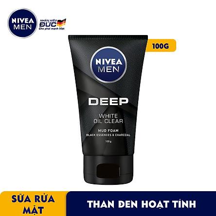 Sữa Rửa Mặt NIVEA MEN DEEP Than Đen Hoạt Tính Hút Nhờn Sáng Da (100G) - 84415