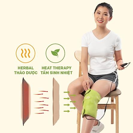Bộ đai chườm nóng thảo dược giảm đau đầu gối dùng điện - Hapaku
