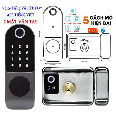 Khóa 2 MẶT VÂN TAY DÙNG APP TUYA/TTLOCK , mở bằng: từ xa bằng điện thoại, vân tay, mã số, thẻ từ và remote (tùy chọn)