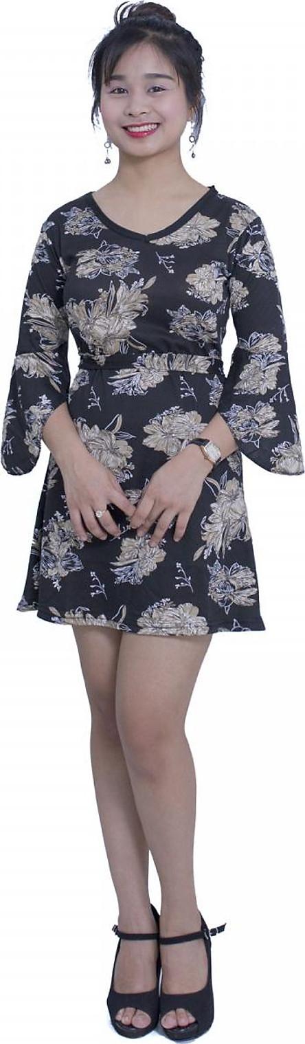 Váy đầm ngắn thắt eo xòe tay cánh dơi - New4all VH3069