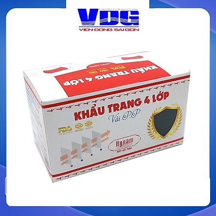 Khẩu trang y tế 4 lớp vải không dệt Hynam - (50 cái/ hộp) - Màu đen