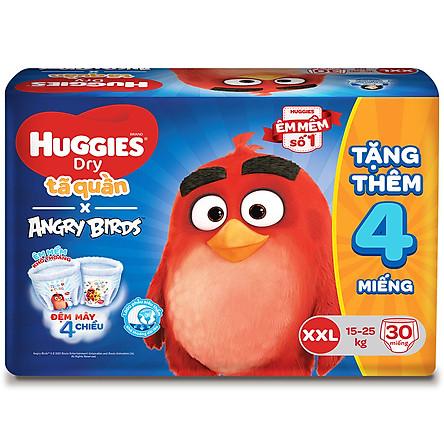 Tã Quần Huggies Dry gói trung Angry Birds phiên bản giới hạn XXL30 (30 Miếng) - Tặng 4 miếng