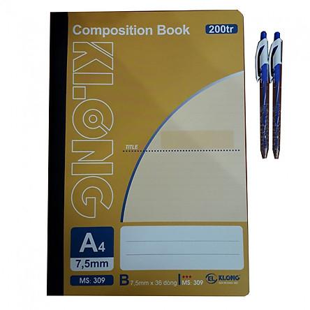 Combo 2 sổ A4 200tr + 2 bút bi TL
