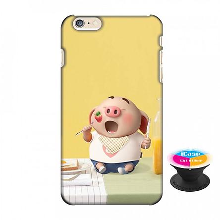 Ốp lưng nhựa dẻo dành cho iPhone 6S Plus in hình Heo Con Ăn Sáng - Tặng Popsocket in logo iCase - Hàng Chính Hãng