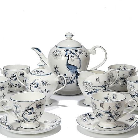 Bộ tách trà Sứ xương 15 món Bone Porcelain 15E (Bình 1.3L, tách 200ml) (Nhiều hoa văn)