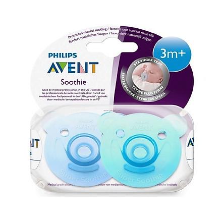 Vỉ 2 núm ty ngậm đúc khối Philips Avent chuẩn y tế SCF194/03 cho bé từ 3-18 tháng